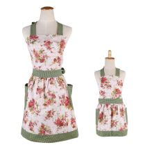 Surblue Women Hem Apron with 2 Pockets for MOM and ME, 100% Organic Cotton,Extra-Long Tie,Reusable,Floral,2 PCS