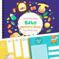 Baby Memory Book to Keepsake from The 1st to 5th Year of Your Baby's Life | Pages 30, 8x8 | Animals Edition | Includes Maternity Stickers, Great Gift for 1st Time Parents.