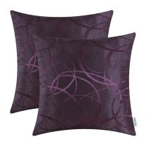 CaliTime Pack of 2 Cushion Covers Throw Pillow Cases Shells for Couch Sofa Home Decor Modern Shining & Dull Contrast Circles Rings Geometric 16 X 16 Inches Deep Purple