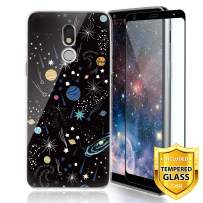 TJS Phone Case for LG Aristo 4 Plus X320/LG X2 2019/LG K30 2019, with [Full Coverage Tempered Glass Screen Protector] Ultra Thin Slim TPU Matte Color Design Transparent Clear Soft Skin (Universe)