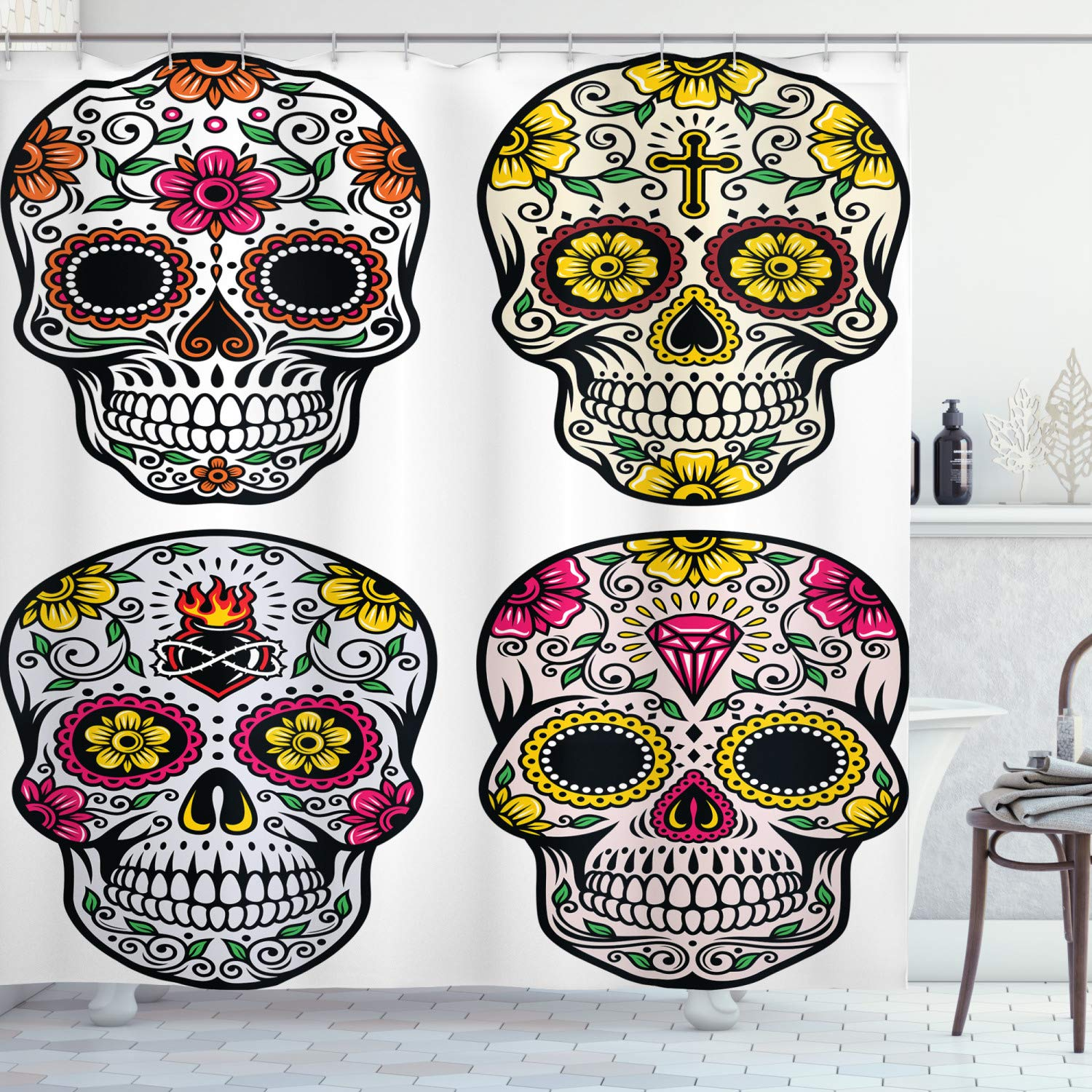 """Ambesonne Day of The Dead Shower Curtain, Dia de Los Muertos Celebration Skull Artwork Image, Cloth Fabric Bathroom Decor Set with Hooks, 75"""" Long, Yellow White"""