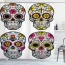 "Ambesonne Day of The Dead Shower Curtain, Dia de Los Muertos Celebration Skull Artwork Image, Cloth Fabric Bathroom Decor Set with Hooks, 75"" Long, Yellow White"