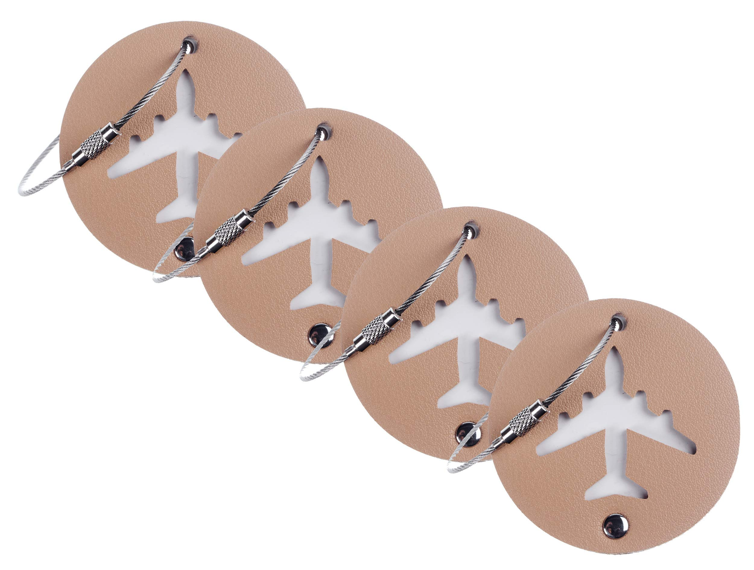 BSWolf Leather Luggage Bag Instrument Tag Cirlce (tan 4 pcs set)