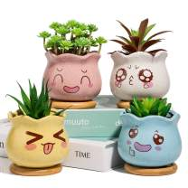 3.5inch Succulent Pots,Yangbaga Ceramic Succulent Planter and Cactus Pot with Bamboo Tray and Drainage Hole for Home and Office Decoration, Facial Expression Design, Pack of 4