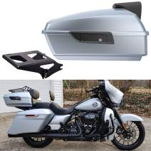 Advanblack Barracuda Silver Glossy Tour Pack Luggage Trunk w/Backrest Fit for Harley Touring Road King Street Glide Special 2019 (Chopped Tour Pack with Black Mounting Rack)