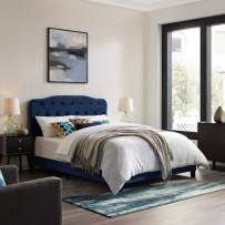 Modway Amelia Tufted Performance Velvet Upholstered Twin Bed in Navy