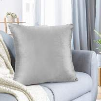 """Nestl Bedding Throw Pillow Cover 18"""" x 18"""" Soft Square Decorative Throw Pillow Covers Cozy Velvet Cushion Case for Sofa Couch Bedroom - Light Gray"""