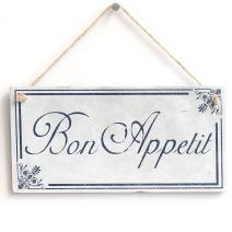 """Meijiafei 'Bon Appetit' Gift - Rustic PVC Door Sign/Plaque 10""""x5"""""""