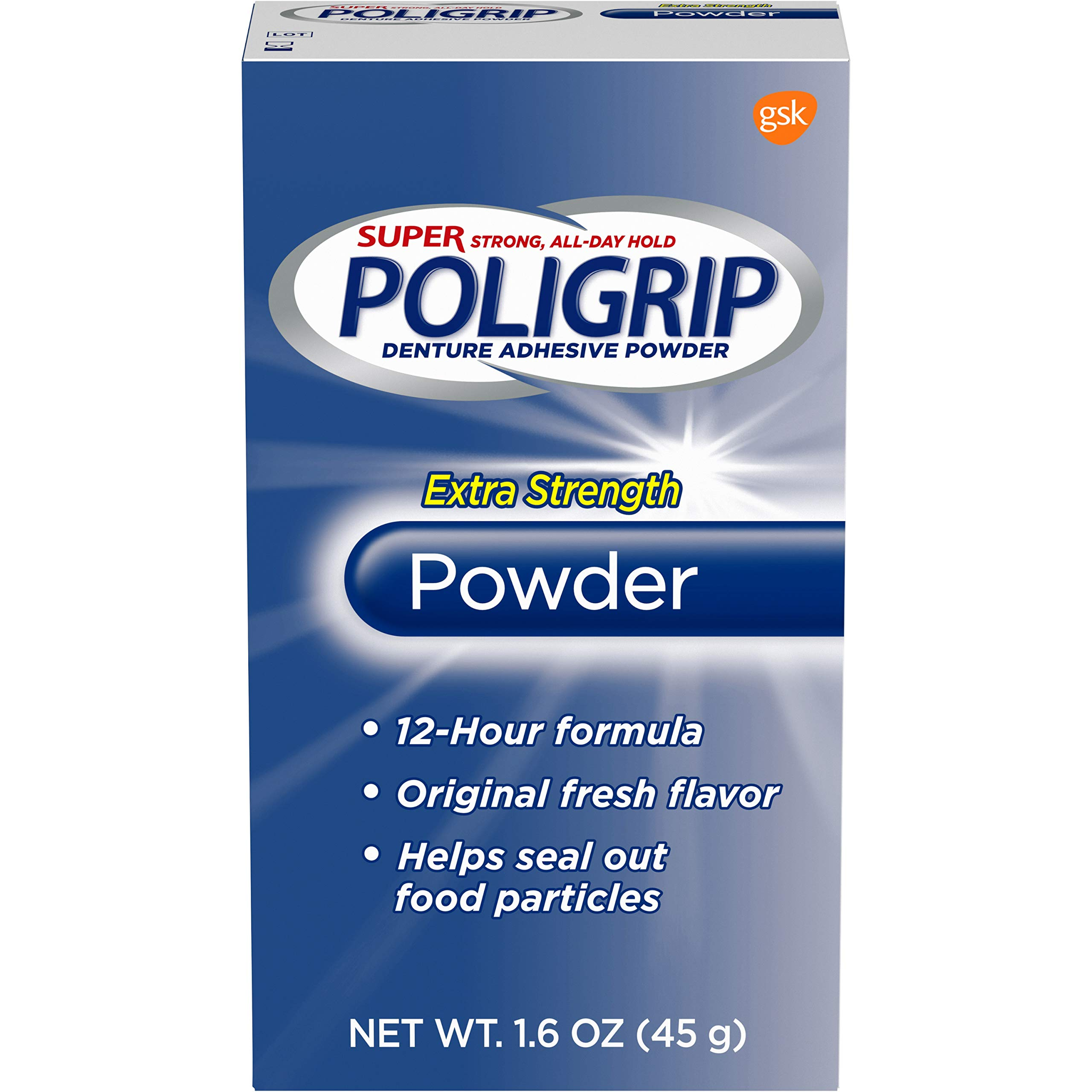 Super Poligrip Extra Strength Denture Adhesive Powder, 1.6 ounce (Pack of 6) (Packaging may vary)
