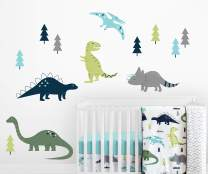 Sweet Jojo Designs Navy Blue, Green and Grey Dino Large Peel and Stick Wall Mural Decal Stickers Art Nursery Decor for Mod Dinosaur Collection - Set of 2 Sheets