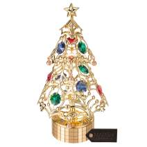 Matashi 24K Gold Plated Christmas Tree Wind-Up Music Box Plays - Deck The Halls Crystal Studded Party Decor - Great Gift for Birthday Christmas