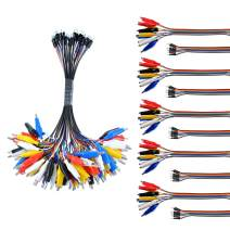 Oiyagai 10PCS 2 in 1 Alligator Clip to Dupont Wire 10pin 20cm Male, Crocodile Clip to Jumper Wire 10pin 20cm Male for Test Lead Arduino/Raspberry Pi/Orange Pi