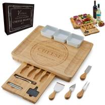 Vistella Charcuterie Large Cheese Board - Bamboo Platter with Knife and Forks Set with Ceramic Bowls - Thicker Wider and Largest Cheeseboard around
