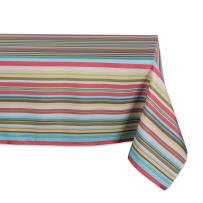 DII 100% Polyester, Spill Proof, Machine Washable, Tablecloth for Outdoor Use, 60x120, Warm Summer Stripe, Seats 10 to 12 People