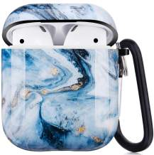 Airpods Case, Airpods Protective Hard Ice Blue Marble Case Cover with Keychain Compatible with AirPods 2/1 Cute Girls Men Durable Shockproof Anti Lost Case for AirPods Charging Case
