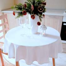 """Stain Resistant White Tablecloth Polyester Table Linen Non Iron Machine Washable, Thanksgiving Tablecloths, Christmas Tablecloths, New Year Eve Dinner, Wedding (Sparkling WHITE plain, Round 52"""")"""