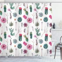 "Ambesonne Cactus Shower Curtain, Vintage Botanical Pattern Arrows Feathers Succulent Twigs Hawaii Spring Tropics, Cloth Fabric Bathroom Decor Set with Hooks, 84"" Long Extra, White Green"
