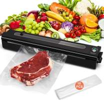 Yoobure Vacuum Sealer Machine, Automatic Food Air Sealing System, Compact Food Saver with Vacuum & Seal Modes, 8X Longer Food Preservation Time, Visual Window, LED Indicator Light, 10pcs Vacuum Bags