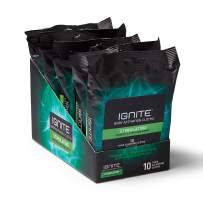 Medline Ignite Mens Body Wipes, Shower Wipes with Bold Stimulating Scent, 5 Packs of 10 Wipes, Great for After Gym Wipes, Camping Wipes, Travel Wipes, Extra Thick 8 x 8 inch Wipes