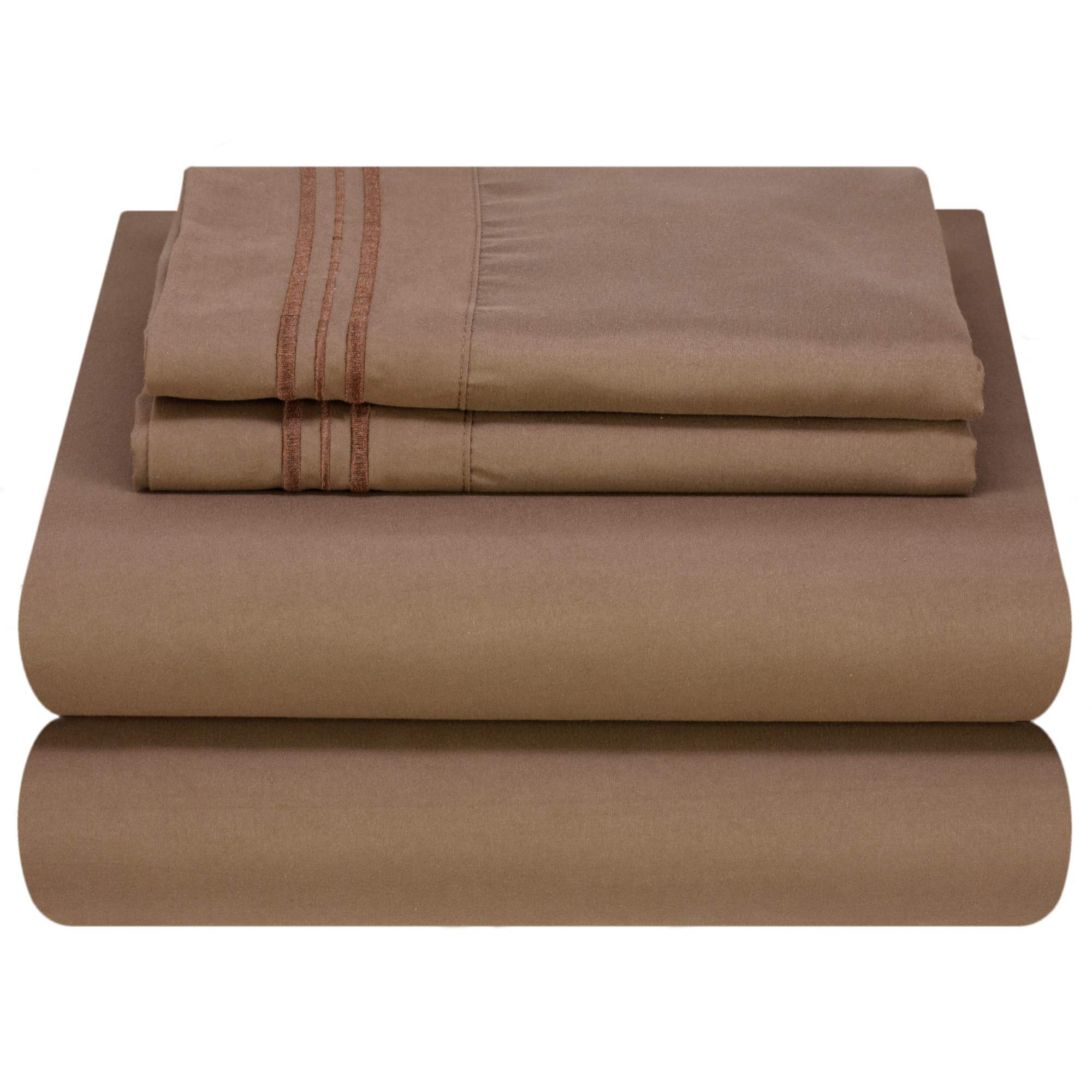 Mezzati Luxury Bed Sheet Set - Soft and Comfortable 1800 Prestige Collection - Brushed Microfiber Bedding (Brown, Twin XL Size)