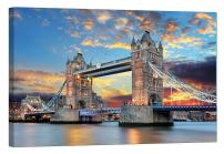 LightFairy Glow in The Dark Canvas Painting - Stretched and Framed Giclee Wall Art Print - England Cityscape London Tower Bridge - Master Bedroom Living Room Decor - 6 Hours Glow - 24 x 16 inch