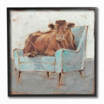 The Stupell Home Decor Brown Bull on a Blue Couch Neutral Color Painting Framed Giclee Texturized Art, 12 x 12, Multi