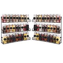 SWOMMOLY 2 Pack Wall Mount Spice Racks, 3-Tier Storage Shelf Organizer, Black, Large