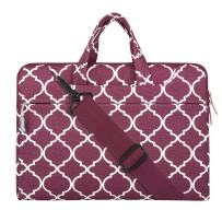 MOSISO Canvas Geometric Pattern Shoulder Bag Compatible with 15-16 inch Laptop, Pure Deep Red Grid