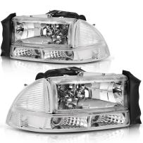 AUTOSAVER88 Headlight Assembly Compatible with 97-04 Dodge Dakota 98-03 Dodge Durango Headlamp Replacement with Park Signal Lamp Crystal Housing Clear Lens