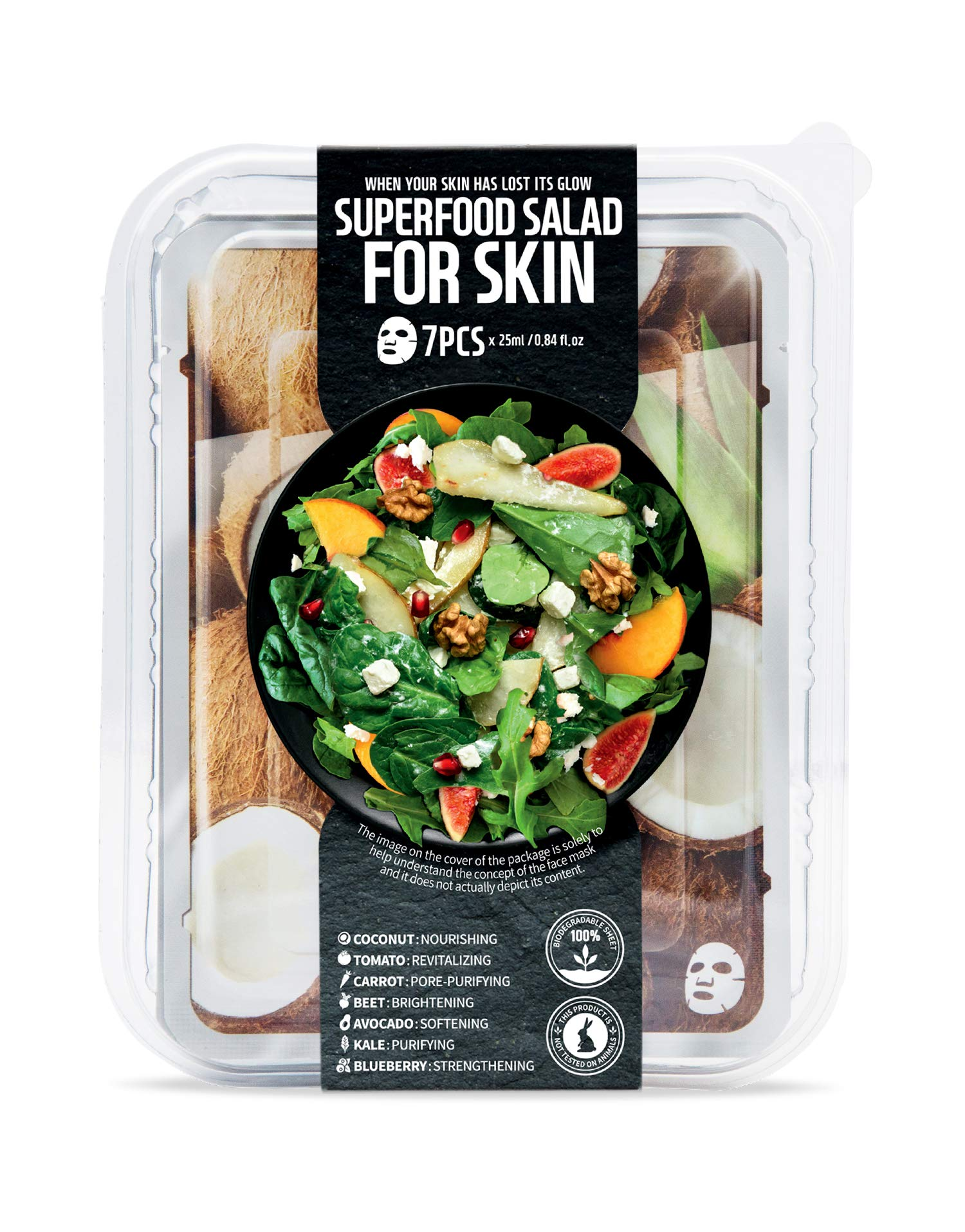 FARMSKIN Superfood Salad For Skin Beauty Facial Sheet Mask Coconut Salad Set (Pack of 7), Coconut