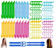 40PCS Hair Curlers Heatless Magic Hair Rollers Wave and Spiral Curl Former Two Styles(12inches) with 4PCS Styling Hooks Kit DIY Hair Curlers No Heat Damage for Most Hairstyles Short and Medium Hair