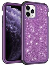 Vofolen for iPhone 11 Pro Max Case with Front Bumper Bling Glitter Shiny Full-Body Protection Hybrid Protective Hard Shell Soft Silicone TPU Rubber Bumper Armor Case for iPhone 11 Pro Max Purple