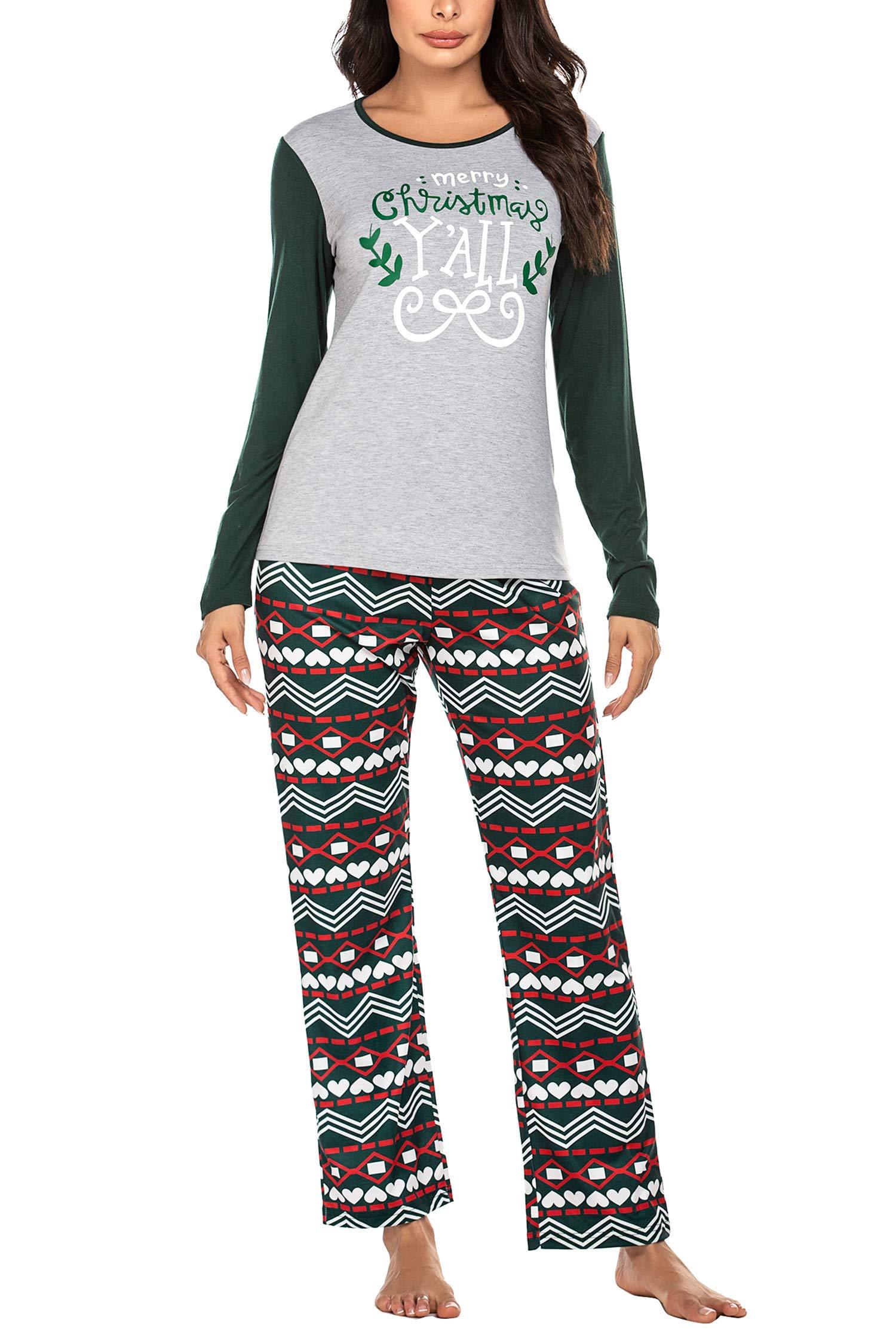 Ekouaer Pajamas for Women Christmas Pajamas Womens Pj Set Long Sleeve Top and Pants Pajama S-XXL