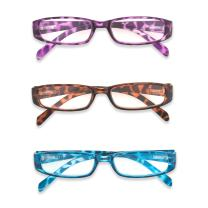 Inner Vision Women's 3-Pack Leopard Print Reading Glasses Set w/Spring Hinges - (1.25 x Magnification) - Purple, Blue, Brown
