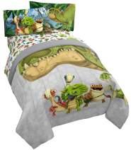 Jay Franco Gigantosaurus 4 Piece Twin Bed Set - Includes Reversible Comforter & Sheet Set - Bedding Features Dinosaur Rocky, Bill, Tiny, Mazu (Official Gigantosaurus Product)