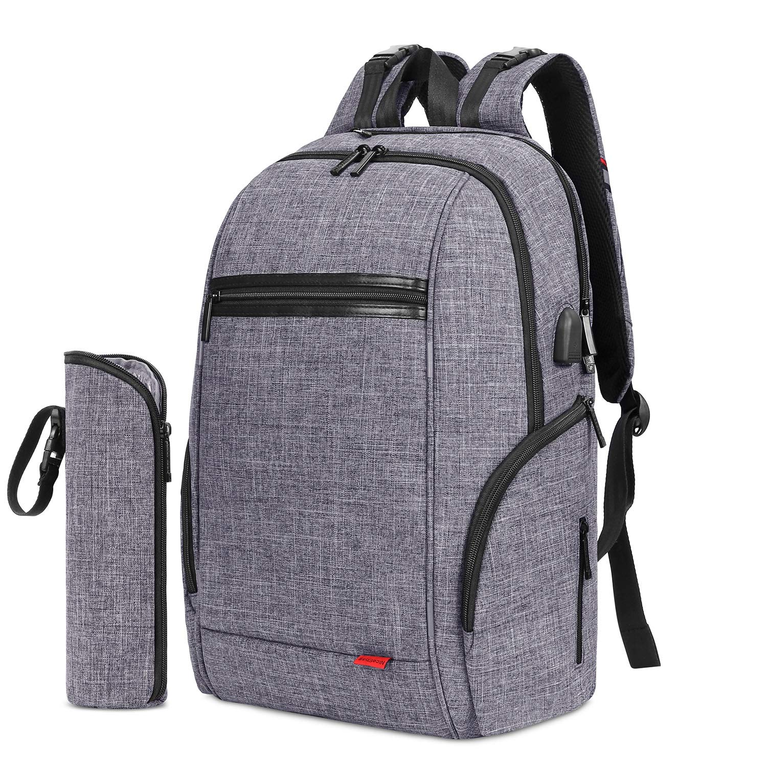 SROTEK Diaper Bag Backpack Multifunction Water Resistant Baby Diaper Bag Nappy Bag With USB Charging Port Changing Pad Insulated Bottle Pockets For Mommy Daddy, Grey