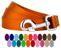 Country Brook Petz - Nylon Dog Leash - Strong, Durable, Traditional Style Leash with Easy to Use Snap - 25+ Colors (1 Inch Wide, 6 Foot, Orange)