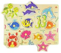 Wooden Peg Puzzle, Sea Creature Chunky Baby Puzzles, Colorful Wood Shape Puzzle Peg Board, Animal Knob Puzzle for Educational Toddlers 12 Months and Up, 11 Pieces