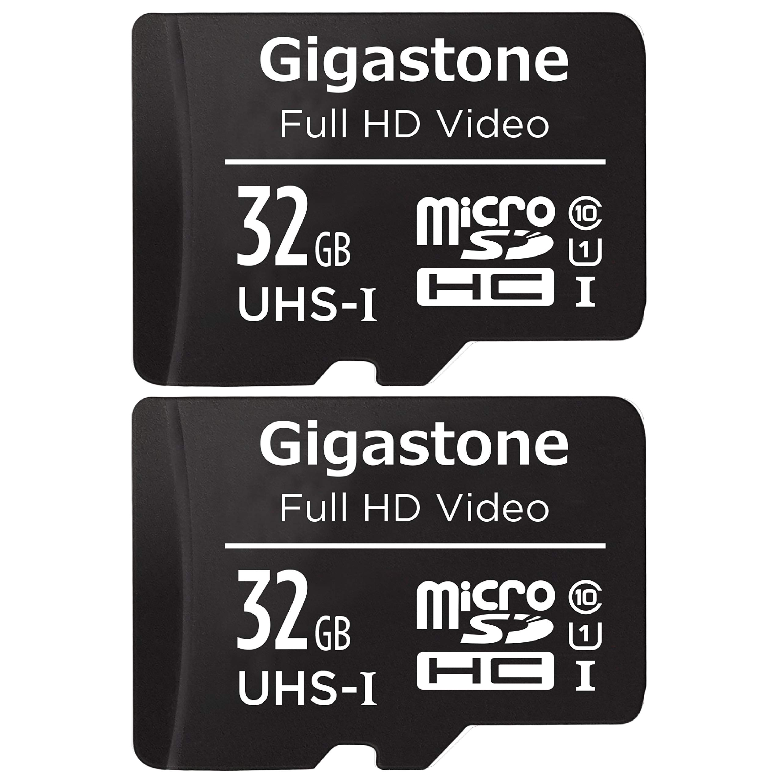 Gigastone 32GB 2-Pack Micro SD Card with Adapter , U1 C10 Class 10, Full HD available, Micro SDHC UHS-I Memory Card - Black