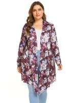 Plus Size Women Classic Print Open Front Lightweight Soft Drape Cardigan(16W-24W)