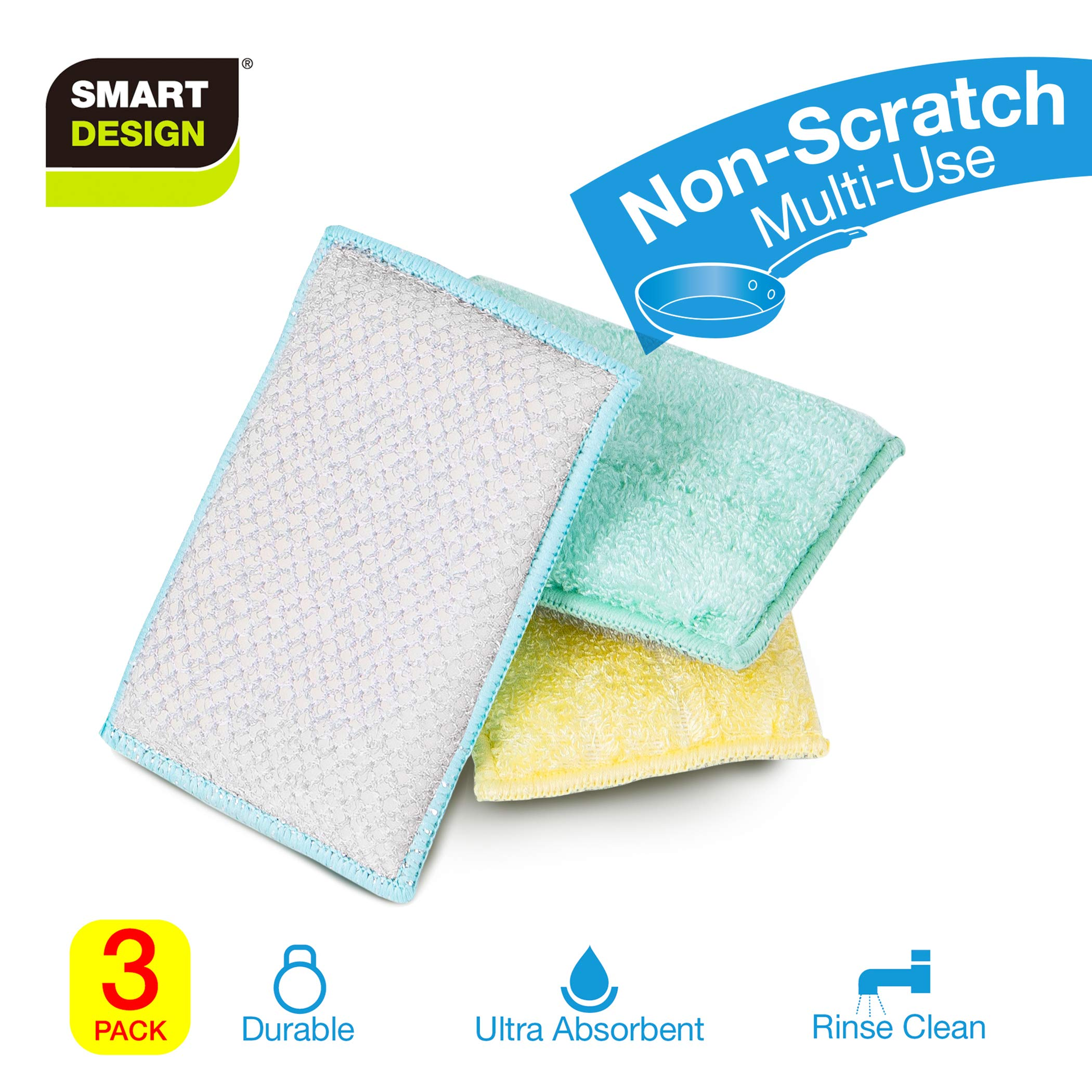 Smart Design SmartCloth Scrub Sponge w/Antimicrobial Odorless Fibers - Ultra Absorbent - Soft & Scrubber Side - for Cleaning, Dishes, Hard Stains - Kitchen (Non-Scratch 3 Pack) [Pastels]