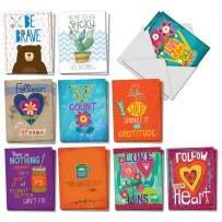 Encouraging Words - 20 Assorted Note Cards with Envelopes (4 x 5.12 Inch) - Inspirational Boxed Stationery Notecards - Friendship, Motivational Greetings for Kids (10 Designs, 2 Each) AM7165FRG-B2x10