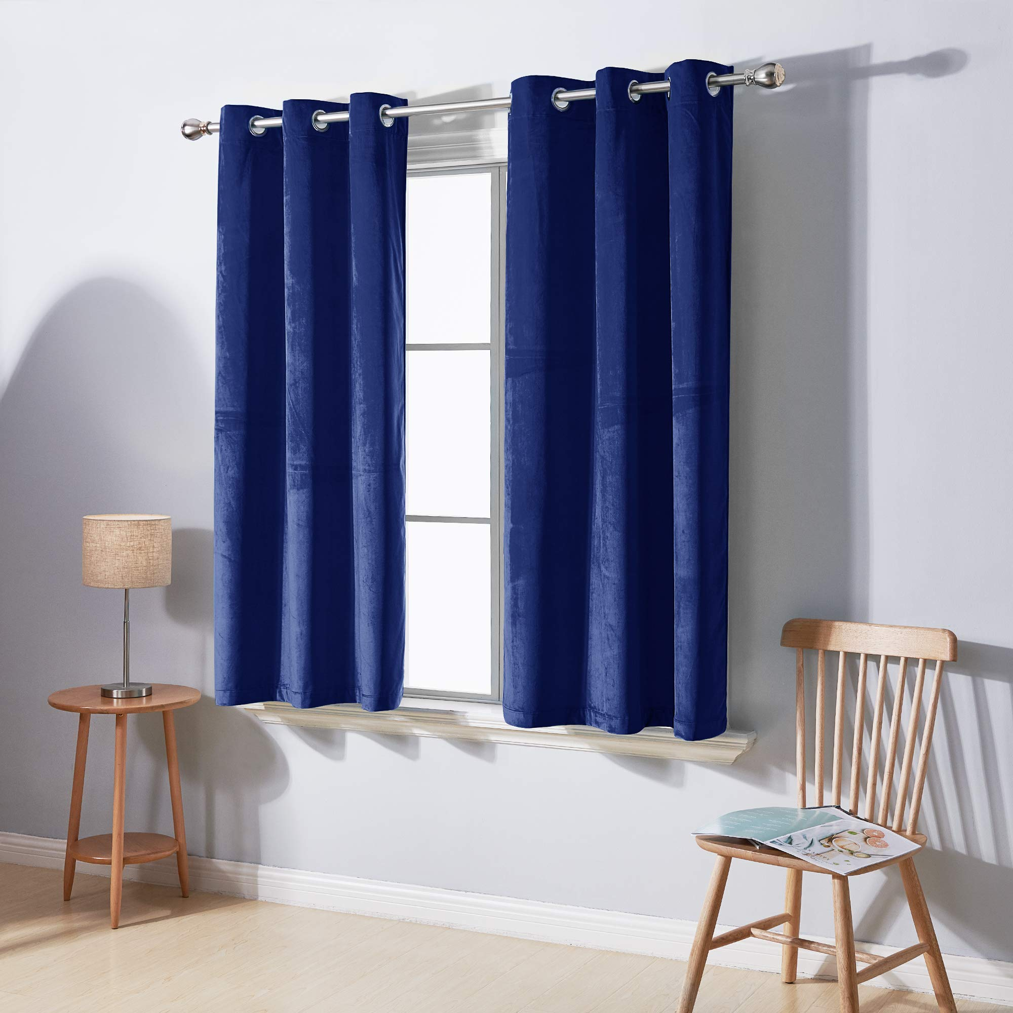 Deconovo Room Darkening Thick Velvet Curtains Thermal Insulated Navy Curtain Panels With Grommet Super Soft Cozy Velvety Window Panel 2 Panels Navy Blue 42wx45l Inch