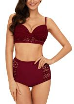 EasyMy Womens Vintage Crochet Lace Two Piece Swimsuit High Waisted Bikini Set with Push Up Underwire Top