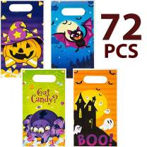 JOYIN 72 Pieces Halloween Trick Or Treat Bags in 4 Designs for Trick-or-Treating, Halloween Party Favors, Event Party Supplies, Halloween Goodie Bags