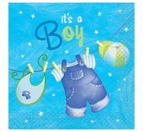 Blue Clothesline Boy Baby Shower Cocktail Napkins, 16ct