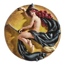 Design Toscano NG34027 The Witch's Midnight Ride Wall Plaque - Witch Wall Sculpture - Halloween Prop,