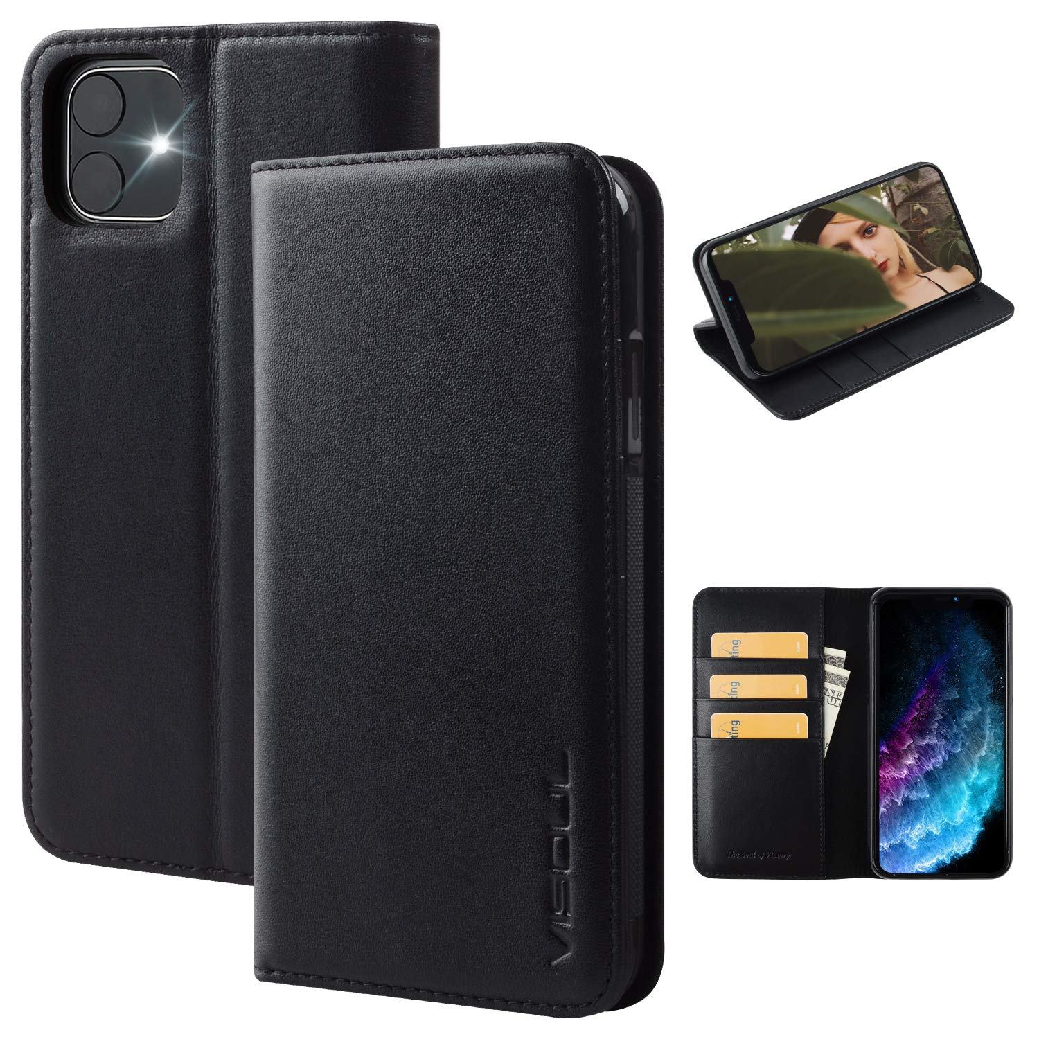 Visoul iPhone 11 Case, Genuine Leather Wallet Case with Magnetic Closure Credit Card Holder Flip Book Design Stand Folio Cover iPhone 11 Wallet Case -Black(6.1inch)