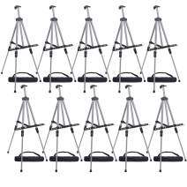 "U.S. Art Supply 66"" Sturdy Silver Aluminum Tripod Artist Field and Display Easel Stand (Pack of 10) - Adjustable Height 20"" to 5.5 Feet, Holds 32"" Canvas - Floor and Tabletop Displaying, Portable Bag"
