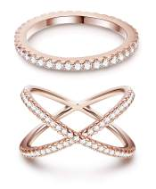 ORAZIO Eternity Bands Stackable Rings for Women CZ X Criss Cross Rings Set